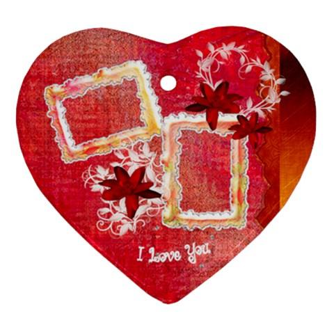 Pink Love Floral Heart Christmas Ornament By Ellan   Ornament (heart)   Tnmjl6bq3s8o   Www Artscow Com Front