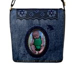 Denim Look Flap Closure Large Messenger Bag - Flap Closure Messenger Bag (L)