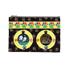 Kitty/doggy Large Cosmetic Bag By Joy Johns   Cosmetic Bag (large)   Sltfuy7ltr84   Www Artscow Com Front