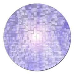 Purple Cubic Typography Magnet 5  (round) by TheZiNES