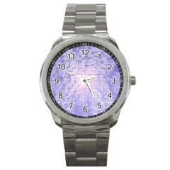 Purple Cubic Typography Sport Metal Watch by TheZiNES