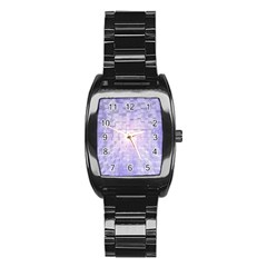 Purple Cubic Typography Men s Stainless Steel Barrel Analog Watch by TheZiNES