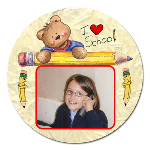 I Love School By Malky   Magnet 5  (round)   Kkvg929zsjee   Www Artscow Com Front