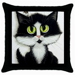 Tuxedo Cat by BiHrLe Black Throw Pillow Case