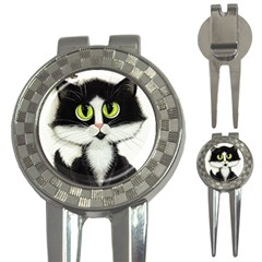 Tuxedo Cat By Bihrle Golf Pitchfork & Ball Marker by AmyLynBihrle