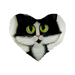 Tuxedo Cat By Bihrle 16  Premium Heart Shape Cushion  by AmyLynBihrle
