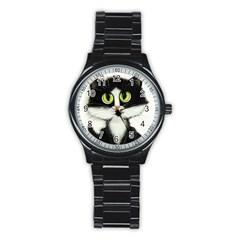 Tuxedo Cat By Bihrle Sport Metal Watch (black) by AmyLynBihrle