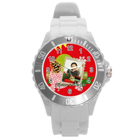 Xmas By Merry Christmas   Round Plastic Sport Watch (l)   E680qk80vhar   Www Artscow Com Front