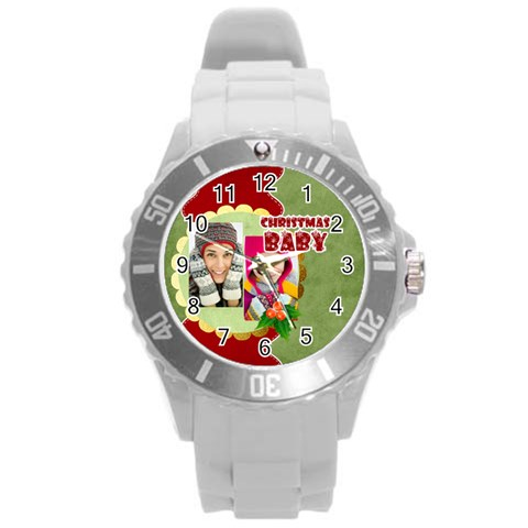 Xmas By Merry Christmas   Round Plastic Sport Watch (l)   O5db0s0p3a82   Www Artscow Com Front