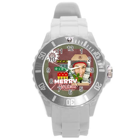Xmas By Merry Christmas   Round Plastic Sport Watch (l)   Pufkqmsuoy9d   Www Artscow Com Front