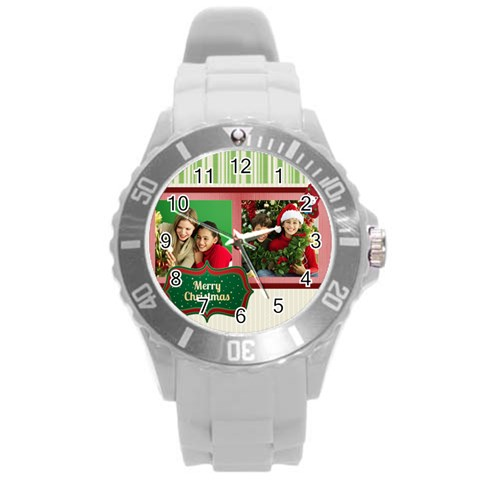 Xmas By Merry Christmas   Round Plastic Sport Watch (l)   Tovpdc9cz9xq   Www Artscow Com Front