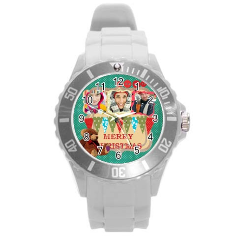 Xmas By Merry Christmas   Round Plastic Sport Watch (l)   94hcvqy83soq   Www Artscow Com Front