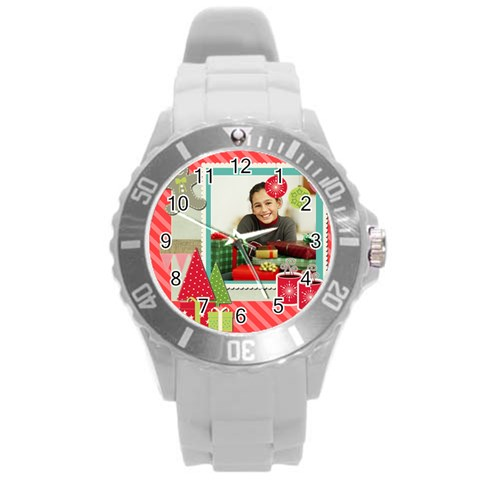 Xmas By Merry Christmas   Round Plastic Sport Watch (l)   Tig65lpo7q6h   Www Artscow Com Front