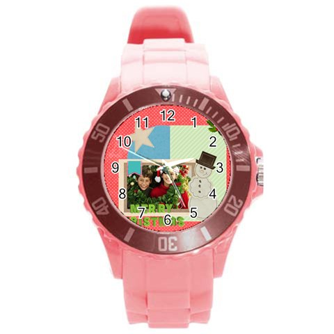 Xmas By Merry Christmas   Round Plastic Sport Watch (l)   6zpj2brp9hj6   Www Artscow Com Front