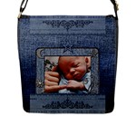 Denim Look Large Flap Closure Messenger Bag - Flap Closure Messenger Bag (L)