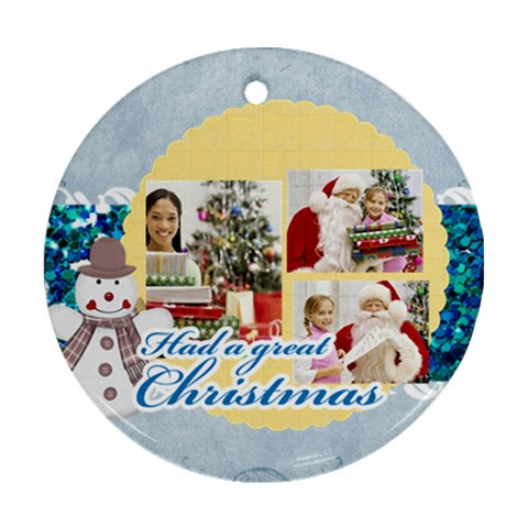 Christmas By Merry Christmas   Ornament (round)   W9ocdtl2fa5x   Www Artscow Com Front