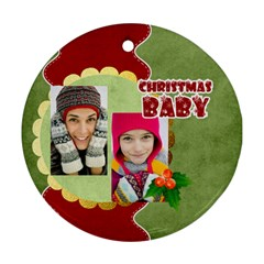 Christmas By Merry Christmas   Round Ornament (two Sides)   Q3h9zf9ew4rs   Www Artscow Com Front