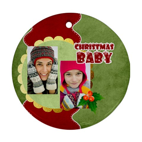 Christmas By Merry Christmas   Ornament (round)   8hu2qysdwe3n   Www Artscow Com Front