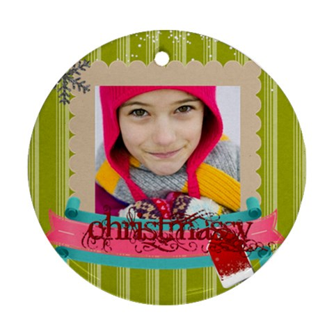 Christmas By Merry Christmas   Ornament (round)   T22p0hnpf9gc   Www Artscow Com Front