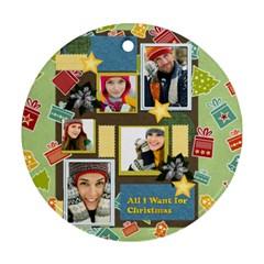 Christmas By Merry Christmas   Round Ornament (two Sides)   2v2kdgv6dv7k   Www Artscow Com Back