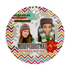 Christmas By Merry Christmas   Round Ornament (two Sides)   Clzqpivc1gth   Www Artscow Com Back