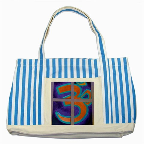 Tote 2 By Carol   Striped Blue Tote Bag   Tnos75hjbl7i   Www Artscow Com Front