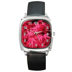 Red Autumn Square Leather Watch by ADIStyle