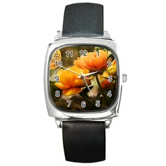 Flowers Butterfly Square Leather Watch by ADIStyle