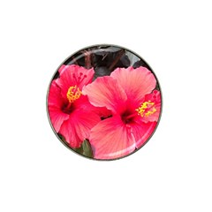 Red Hibiscus Golf Ball Marker (for Hat Clip) by ADIStyle