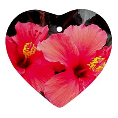 Red Hibiscus Heart Ornament (two Sides) by ADIStyle