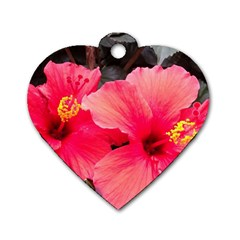 Red Hibiscus Dog Tag Heart (one Sided)  by ADIStyle