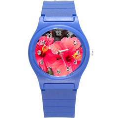 Red Hibiscus Plastic Sport Watch (small) by ADIStyle