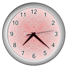 Pink Elegant Damask Wall Clock (silver) by ADIStyle