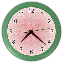 Pink Elegant Damask Wall Clock (color) by ADIStyle
