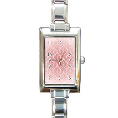 Luxury Pink Damask Rectangular Italian Charm Watch by ADIStyle