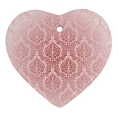 Luxury Pink Damask Heart Ornament by ADIStyle
