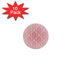 Luxury Pink Damask 1  Mini Button (10 Pack) by ADIStyle