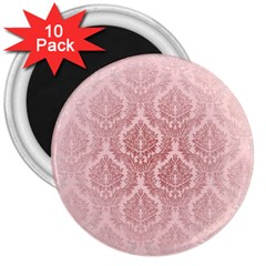 Luxury Pink Damask 3  Button Magnet (10 Pack) by ADIStyle