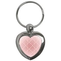Luxury Pink Damask Key Chain (heart) by ADIStyle