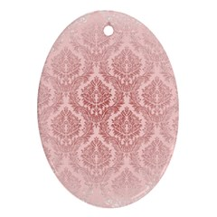 Luxury Pink Damask Oval Ornament (two Sides) by ADIStyle