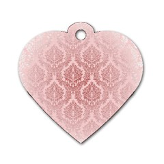 Luxury Pink Damask Dog Tag Heart (one Sided)  by ADIStyle