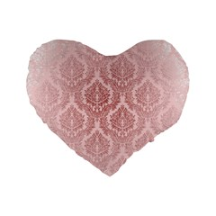 Luxury Pink Damask 16  Premium Heart Shape Cushion