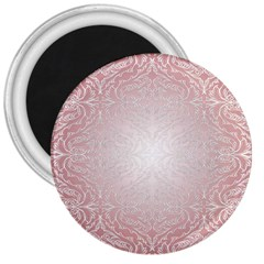 Pink Damask 3  Button Magnet by ADIStyle