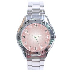 Pink Damask Stainless Steel Watch (men s) by ADIStyle