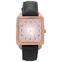 Pink Damask Rose Gold Leather Watch  by ADIStyle