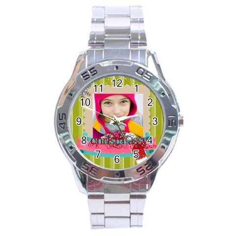 Christmas By Merry Christmas   Stainless Steel Analogue Watch   28boj3aqaf78   Www Artscow Com Front