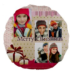 Christmas By Merry Christmas   Large 18  Premium Round Cushion    W8663yxuq7c0   Www Artscow Com Front