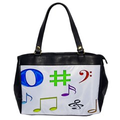 Musical Notes Oversize Office Handbag (one Side) by designsbyvee