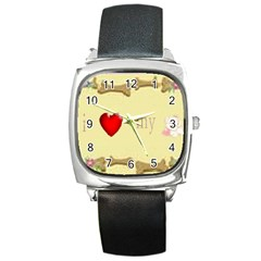 I Love My Dog! Ii Square Leather Watch by mysticalimages