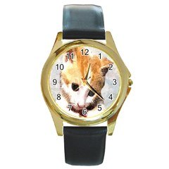 Sweet Face :) Round Metal Watch (gold Rim)  by mysticalimages